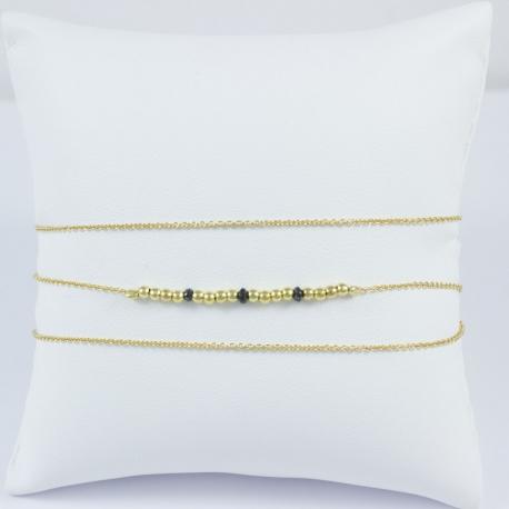 Bracelet wrap perles plaqué or et diamants noirs by LFDM