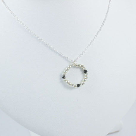 Collier perles argent et diamants noirs Circle Black Pearl by LFDM