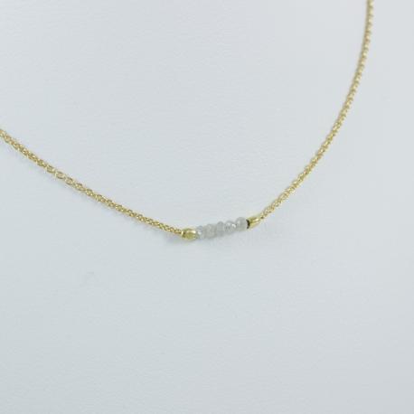 Collier plaqué or et 5 diamants gris by LFDM