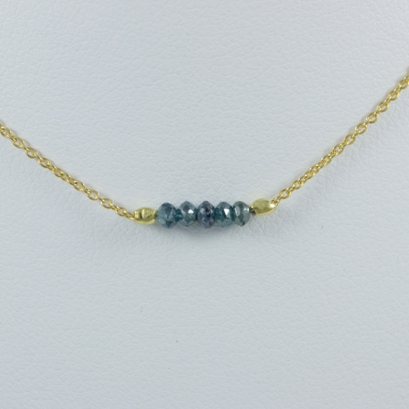 Collier argent plaqué or et 5 diamants bleus Gold Constellation by FDM