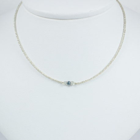 Collier diamant bleu chaine scintillante Frozen Blue Star by LFDM JEWELRY