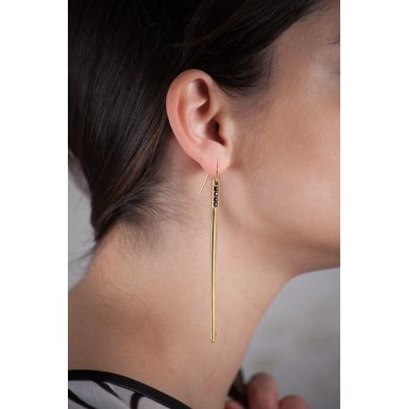 Boucles d'oreilles dorées strassées Aiguillette - Schade Jewellery