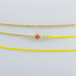 Bracelet corail modèle Amana et perles d'argent et chaine scintillante plaqué or jaune fil jaune by LFDM Fine Jewelry