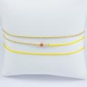 Bracelet corail modèle Amana et perles d'argent et chaine scintillante doré or jaune fil jaune by LFDM Fine Jewelry
