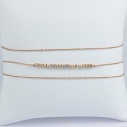 Bracelet diamant gris et perles argent plaqué or rose triple tour by LFDM