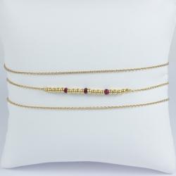 Bracelet triple tour rubis perles argent plaqué or champagne by LFDM - Fine Jewelry