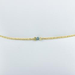Bracelet diamant bleu chaine brillante or jaune Sun Blue Star by LFDM