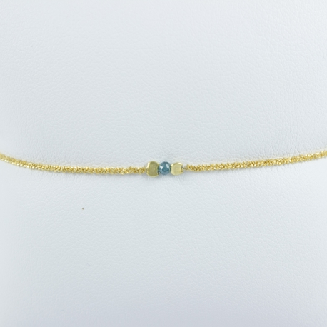 Bracelet diamant bleu chaine brillante or jaune Sun Blue Star by LFDM