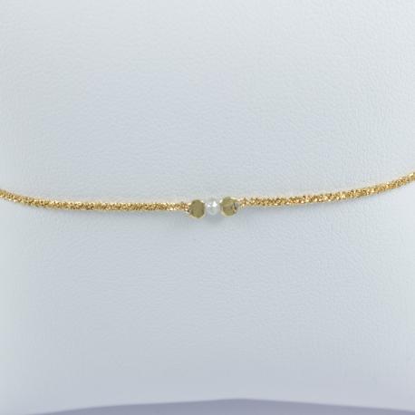 Bracelet diamant gris plaqué or champagne Sun light star by LFDM