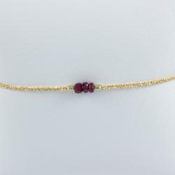 Bracelet 3 rubis argent plaqué or champagne by LFDM Jewels