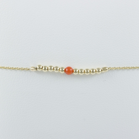 Bracelet corail et perles argent plaqué or champagne Light Gold Pearl Star by LFDM