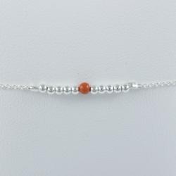 Bracelet argent et perles de corail by LFDM Jewelry