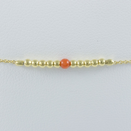 Coral bracelet and gold plated pearl Gold Peral Star by LFDM JEWELS