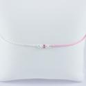 Bracelet Joséphine corde rose pâle chaine argent perles Akoya Keshi et saphir rose Pink Star by LFDM