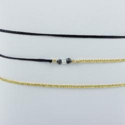 Bracelet triple tour chaine brillante rose lien gris et 3 diamants gris modèle Rama by LFDM Jewels
