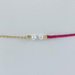 Bracelet bi-matière chaine argent doré champagne lien fuschia perles Akoya Keshi et diamant gris modèle Little Maeva by LFDM
