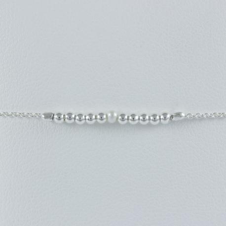 Bracelet Perles Intemporelles argent et Akoya Keshi by LFDM