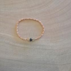 Bague chaine brillante argent doré or rose et diamant noir by LFDM Jewels