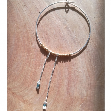 Créoles argent et diamant bleu by LFDM Jewels