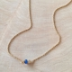 Collier Saphir bleu argent doré 1 micron Les Intemporels by LFDM Jewels