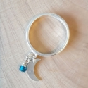 Bague lune argent et cristal de swaroski blue tropical by LFDM Jewels