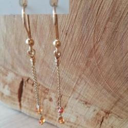 Boucles d'oreilles saphir orange dit Padparadscha argent doré or champagne by LFDM Jewels