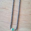 Collier émeraude chaine scintillante rhodiée noire by LFDM Jewels