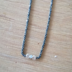 Collier diamant gris chaine scintillante noire by LFDM Jewels