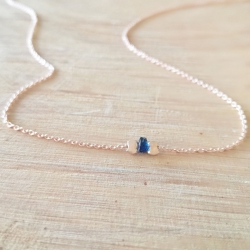 Collier saphir bleu argent doré or rose by LFDM Jewelry