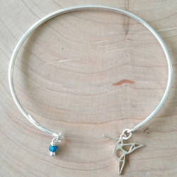 Jonc précieux colibri argent et goutte de cristal de swaroski bleu tropique by LFDM Jewels