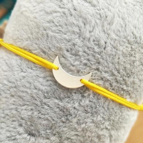 Bracelet lune argent et cordon jaune vif by LFDM Jewels