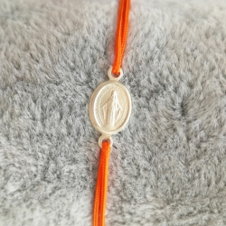 Bracelet madone argent et cordon orange by LFDM Jewels