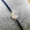 Bracelet lune argent pavé de zircons et lien bleu nuit by LFDM Jewels