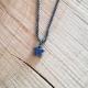 Collier étoile saphir bleu chaîne scintillante rhodiée noire by LFDM Jewels