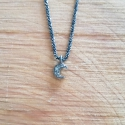 Collier lune diamant gris chaine scintillante noire by LFDM Jewels