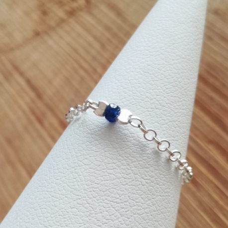 Bague saphir bleu chaine jaseron argent 925 by LFDM Jewels