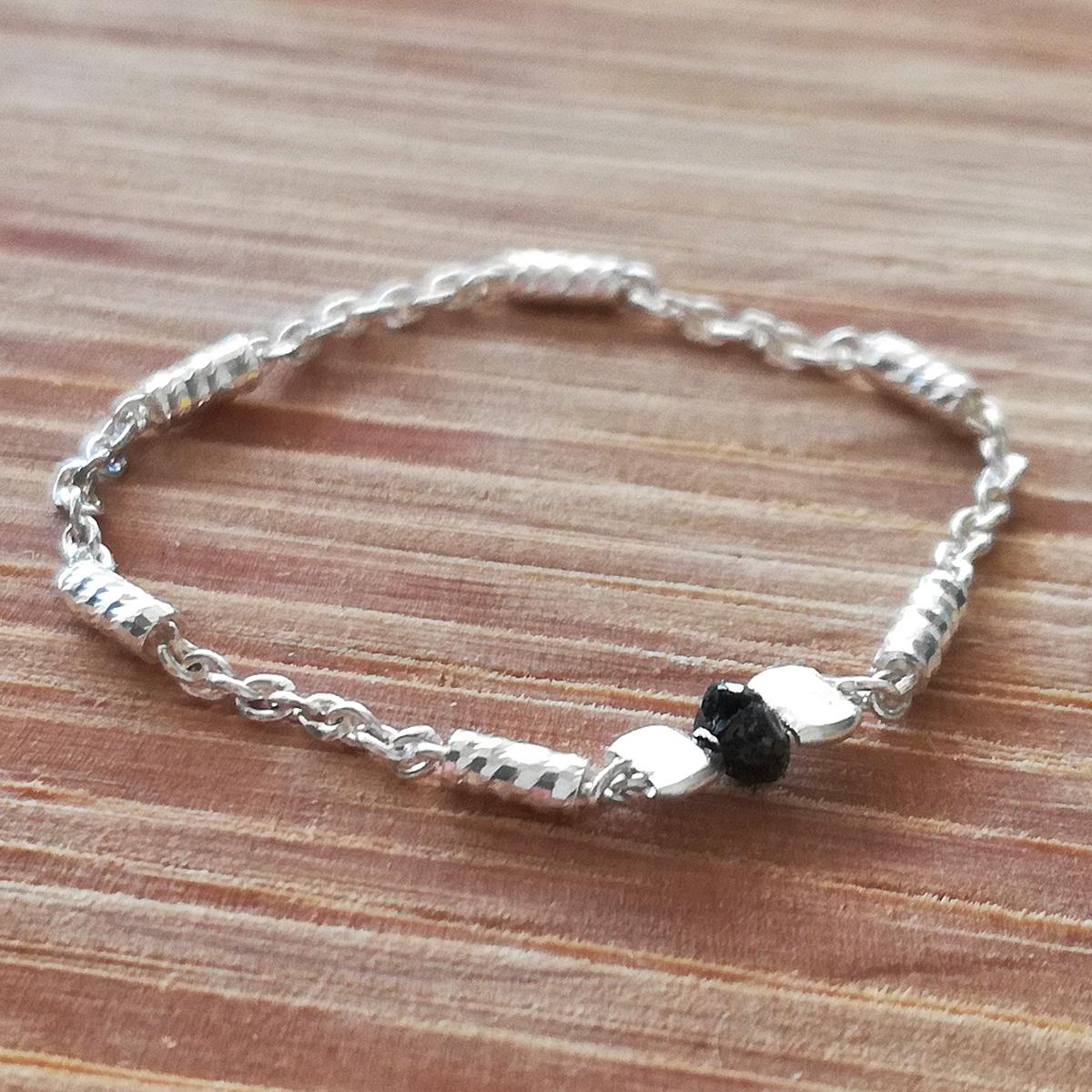 910254bedec Bague diamant noir chaine fantaisie argent massif by LFDM Jewels - Bague  diamant
