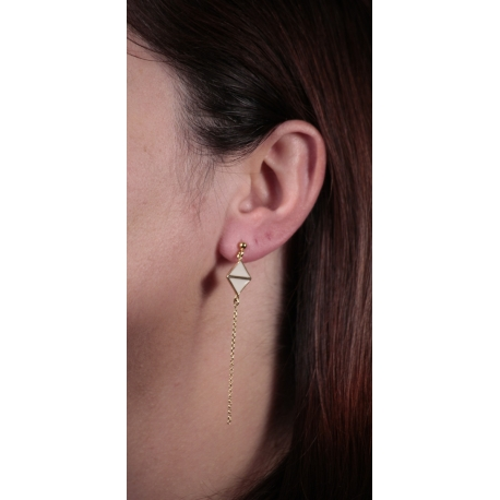 Boucles d'oreilles plaqué or Art déco ivoire - L'Atelier d'Olivia