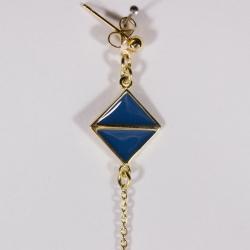 Boucles d'oreilles plaqué or Art déco Bleu Touareg - L'Atelier d'Olivia