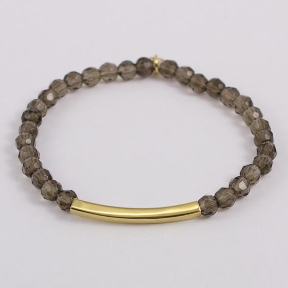 Bracelet quartz et motif tube plaqué or