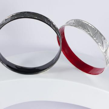 bangle ru noir et argent rouge 3