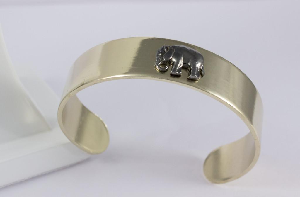 bracelet éléphant or pale et ruthénium