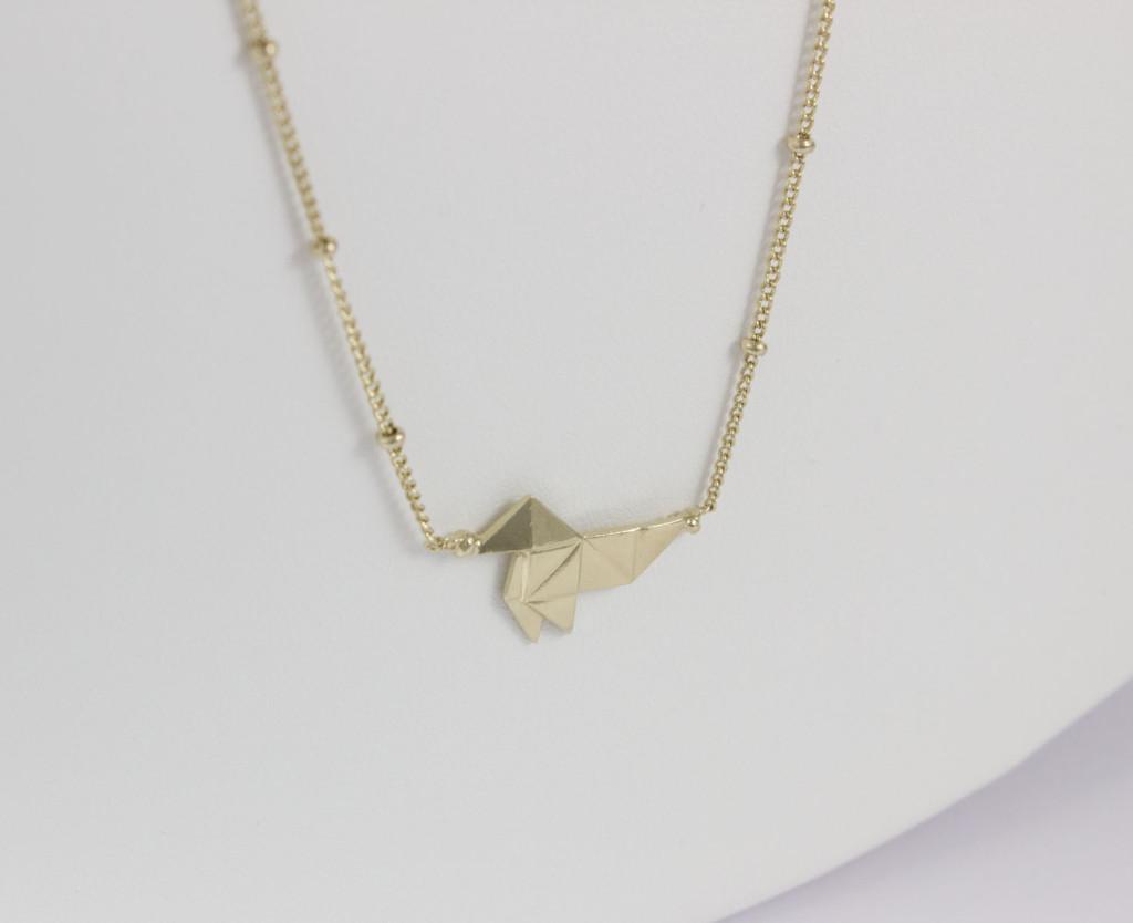 collier poule ras de cou plaqué or pâle_FW15/16