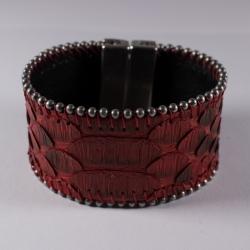 Manchette en peau de python rouge chaîne boule - Aech Cheli