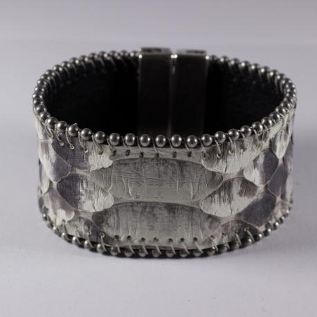 Bracelet en peau de serpent gris chaîne boule - Aech Cheli