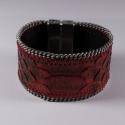 Bracelet en cuir de serpent rouge chaîne plate - Aech Cheli