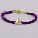 Bracelet lacet aubergine motif triangle plaqué or