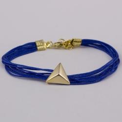 Bracelet pyramide plaqué or et cordons bleu dur