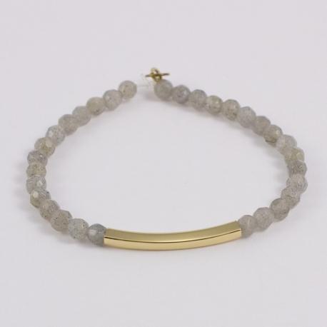 Bracelet labradorite et motif rectangle plaqué or