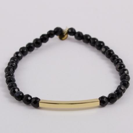 Bracelet agate et motif baguette plaqué or
